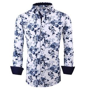 2020 hot sale Quick Dry Anti-Pilling Breathable white color navy flower men printed shirt long sleeve shirts for men