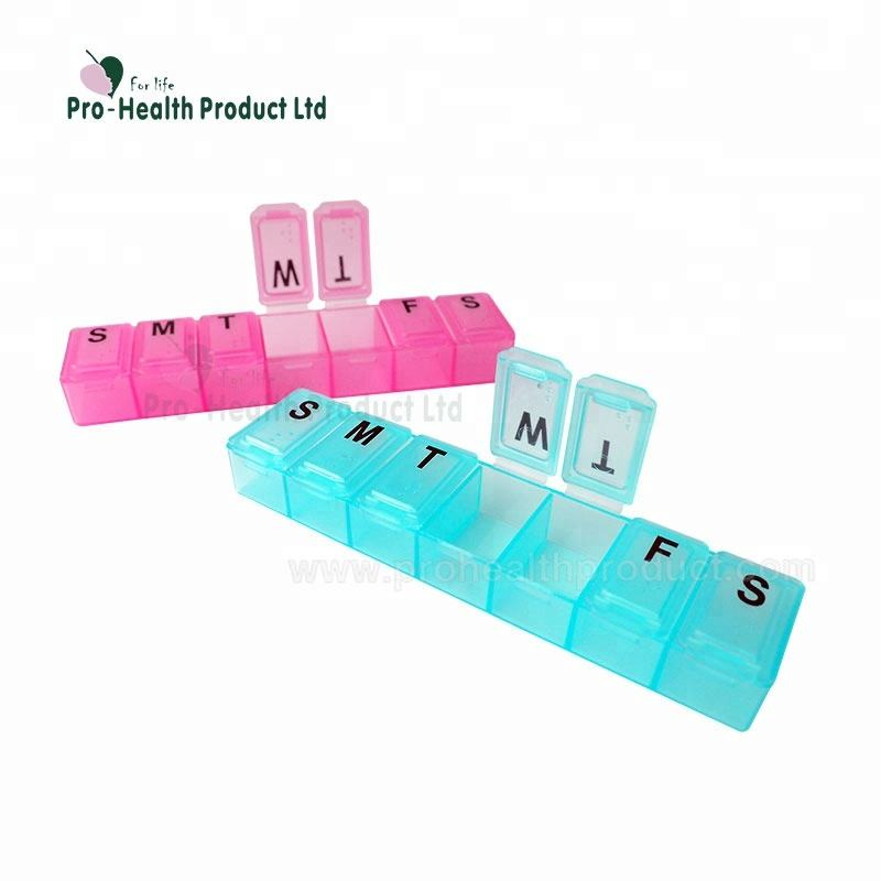 PP Material 7 Days Weekly Plastic Pill Box Organizer