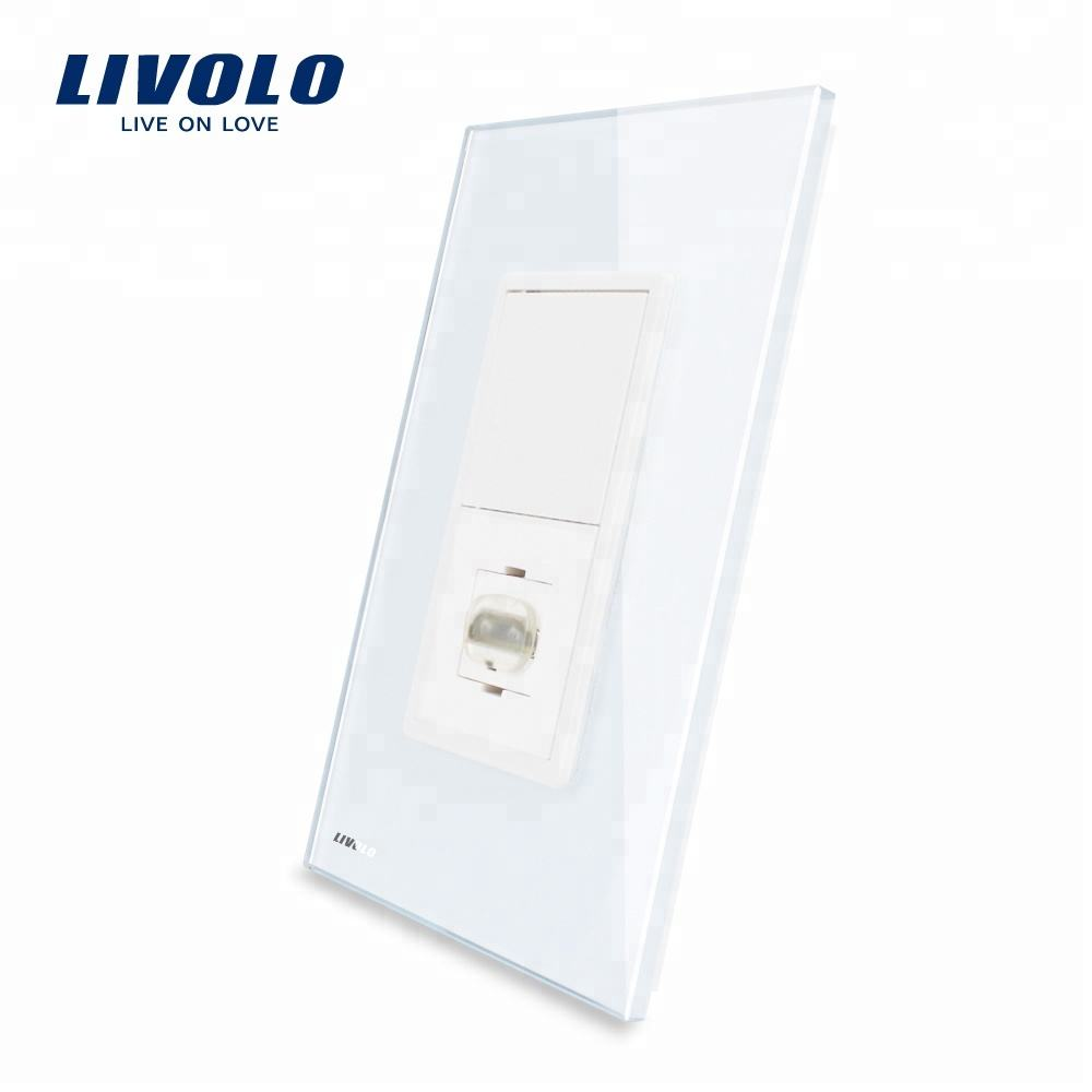 Livolo US/AU Standard New Arrival HDMI Socket With White Glass Panel VL-C591HD-11