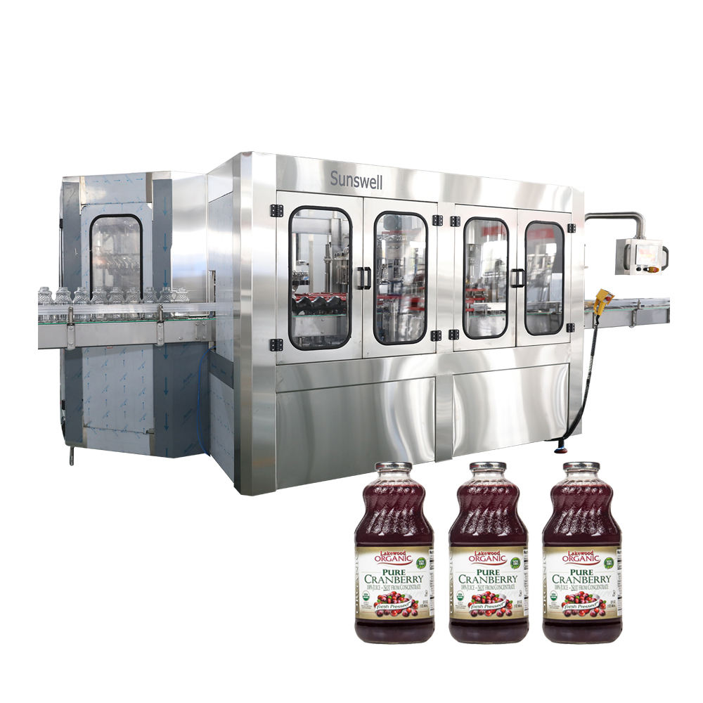 Fruit juice glass bottle twist off caps filling and capping machine