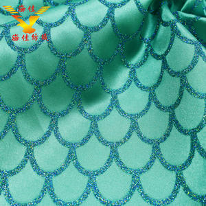 Free sample polyester soft satin fabric with blue glitter printing