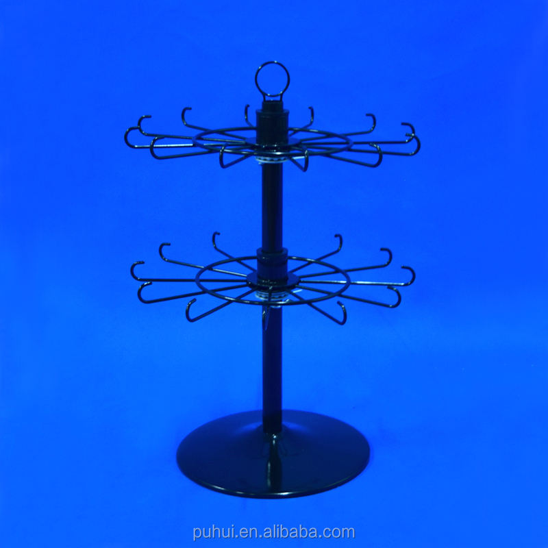 custom metal wire spinner tier store promotion rotating counter display rack with prong arms for hanging ornaments
