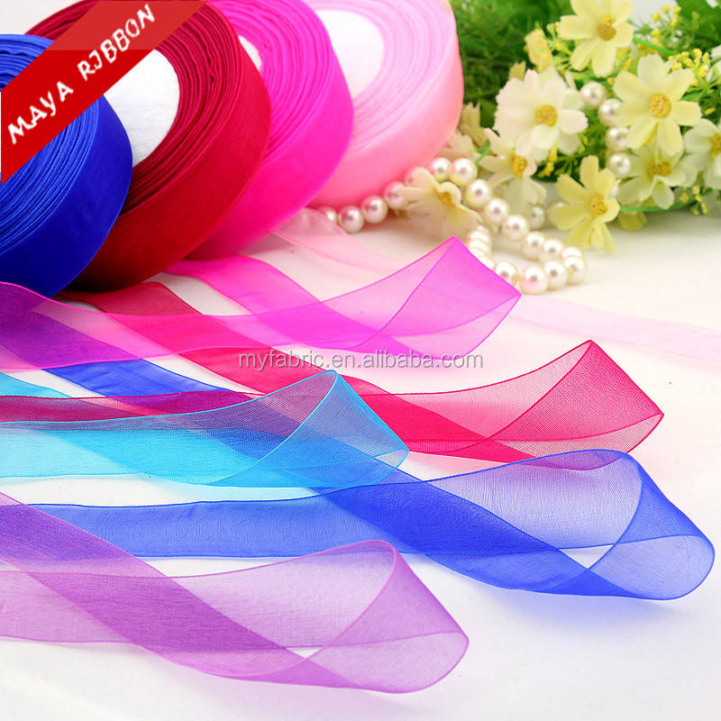 25mm 1 inch woven edged double face solid color sheer chiffon ribbon for decoration