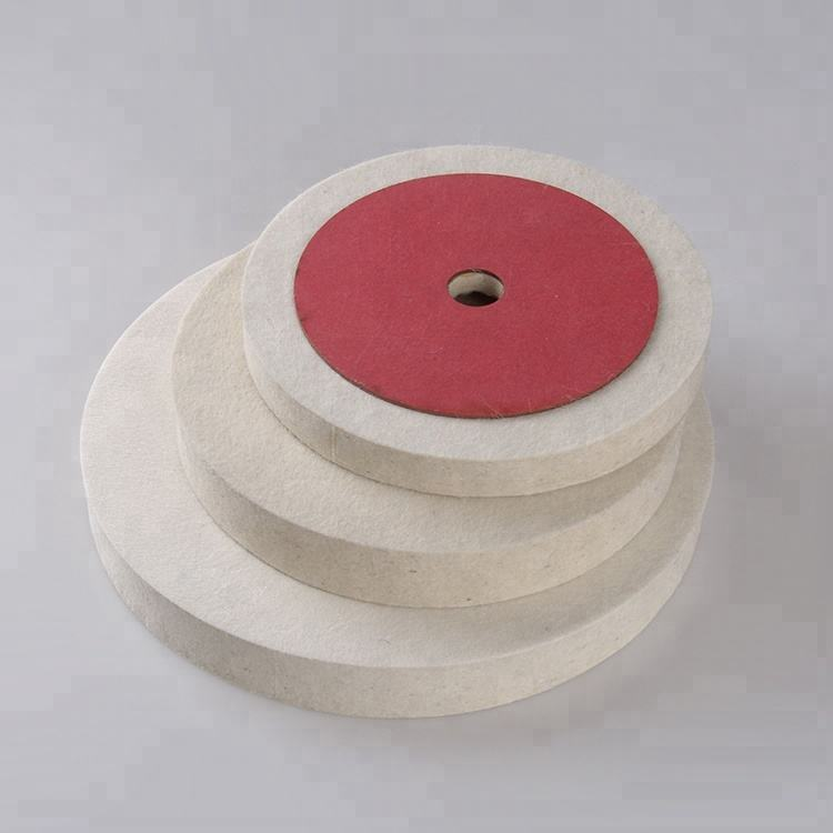 non-woven abrasive leather felt polishing wheels disc with red paper for stone