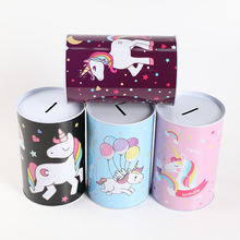 TOPSTHINK Unicorn safe money box unicorn round tin coin bank for gift