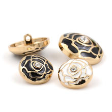 fashion rose gold plated round shank metal zinc alloy button for garment