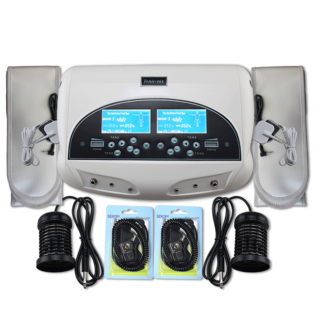 Dual Ionic Detox Foot Spa machine with black leather aluminum packing