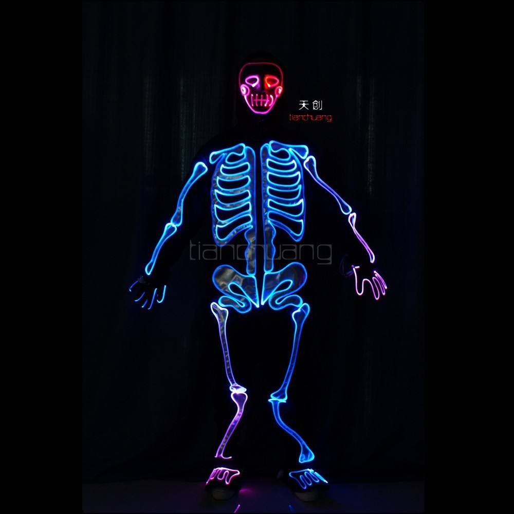 Wireless DMX 512 Neon skeleton bones costume, Illuminated Skeleton halloween costume