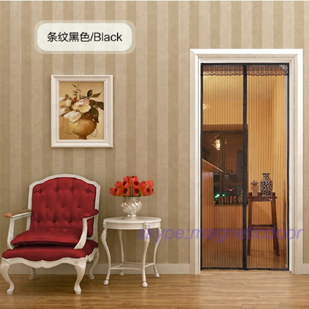 hot sell black color polyester magnetic screen door with heavy duty