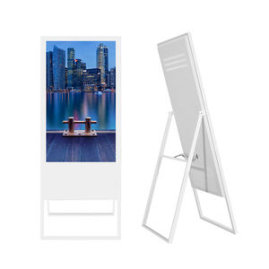 Ultra Slim Ad Speler Prijskaartje Standing Led Digital Signage Stand Android Kiosk Dual Screen Verf Behuizing Lcd Monitor