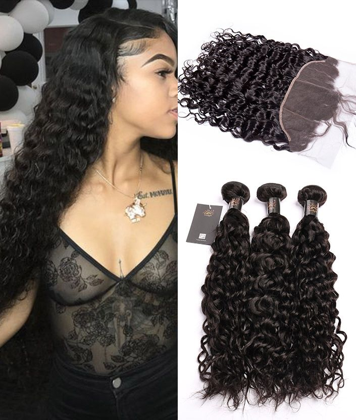 2020free sample longshengyuan Sunlight non remy Human Hair water wave 9A 3 Bundles Malaysian Water Wave Hair With lace Frontal