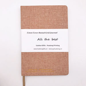 Wholesale high quality linen fabric cover planner novelty dot printed notebook journal