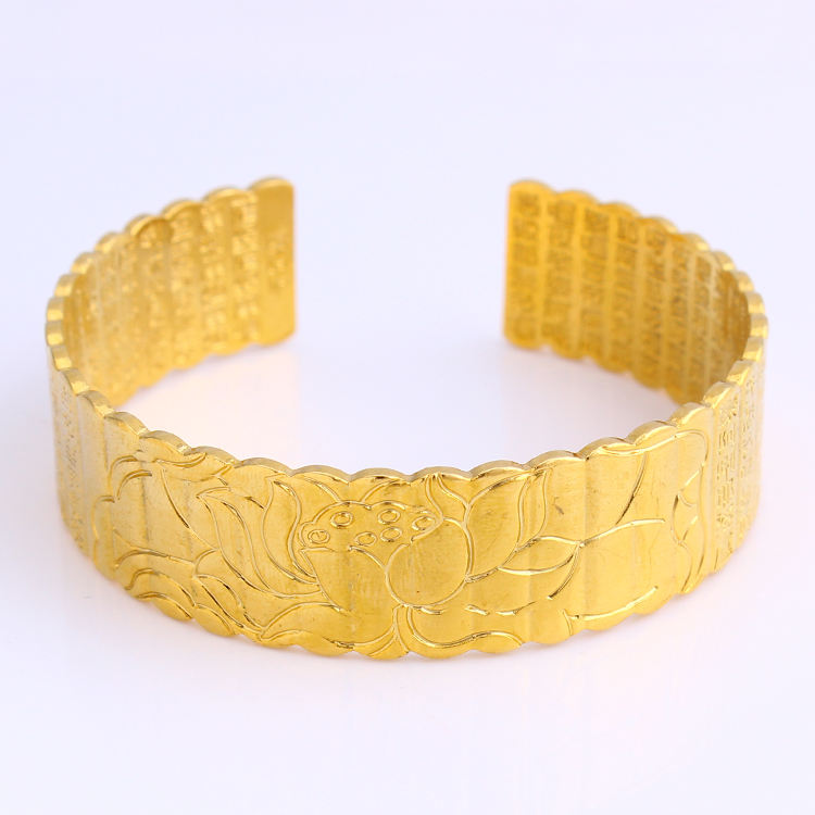 JH Heart Lotus Gold Plated Charming Free Size Bangle Wide Unisex Buddhism Jewelry