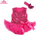 Summer Baby 2 Piece Suits short Sleeve SequinTutu Dress + Headband infant fashion Romper