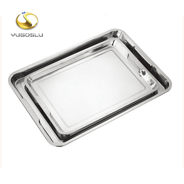FREE SAMPLE 50X35CM silver rectangular high quality stainless steel food tray for hotel serving