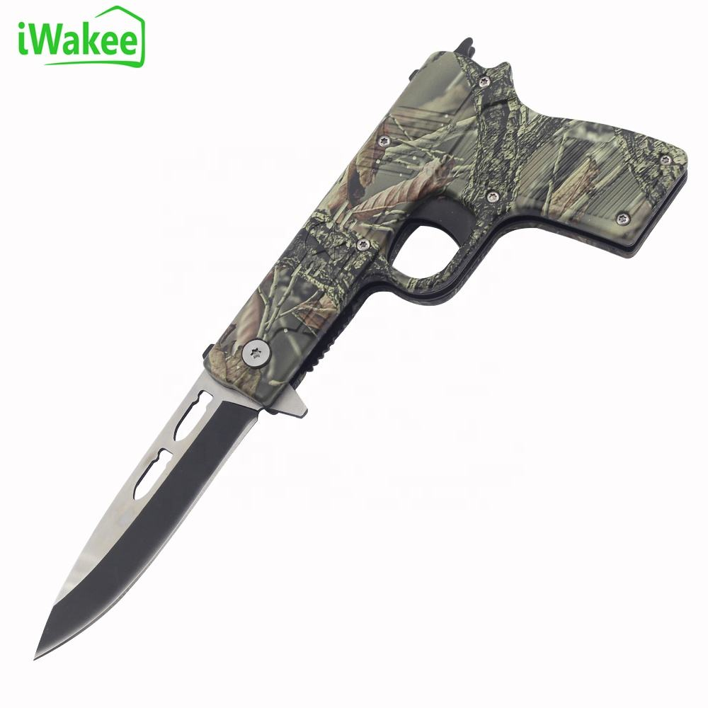 Aluminum handle with camouflage coating gun shape pocket Folding Survival Knife