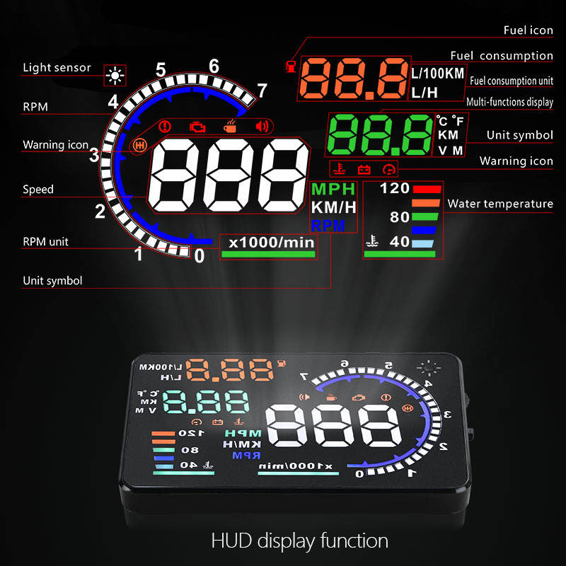 Best Verkopende Auto Elektronica A8 OBD2 HUD Heads Up Digitale Meter Snelheid OBDII Head-Up Display