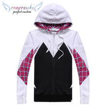Foreign trade sources Gwen Spider-Man sweater cartoon zipper European and American tide long-sleeved casual cotton hooded COS co