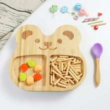 100%natural bamboo baby suction plate set baby panda plates  ( Green, purple, orange )
