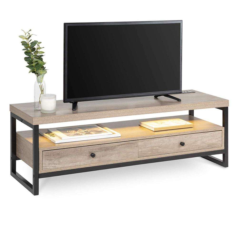 Mid-Century Modern Bluetooth TV Storage Stand Entertainment Center Furniture Decor