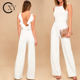 Custom Women Fancy White Backless Formal Wide Leg Pants Jumpsuit