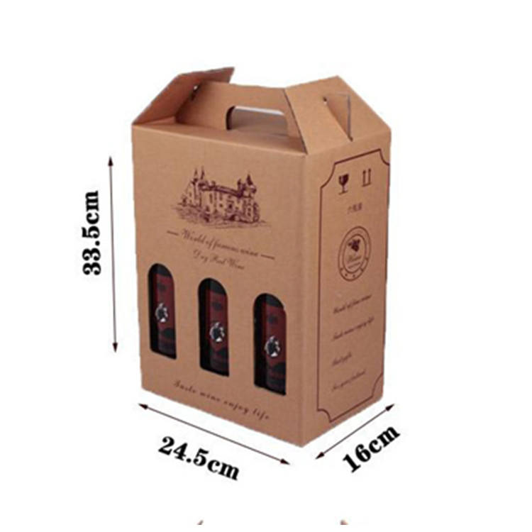 BP-T10 Custom different size Hand-held foldable kraft paper red wine packing carton with open windows