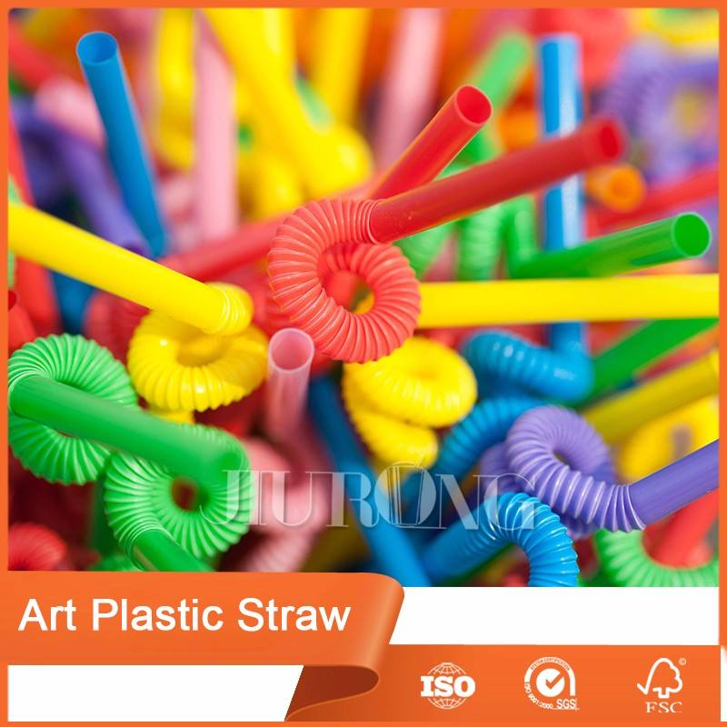 Wholesale Disposable Colorful High quality PP flexible artistic plastic drinking straws