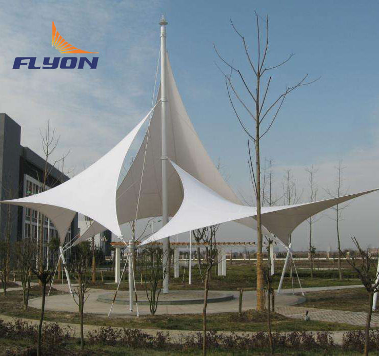 PTFE Membrane structure Tensile Car Parling Tent Shade Steel
