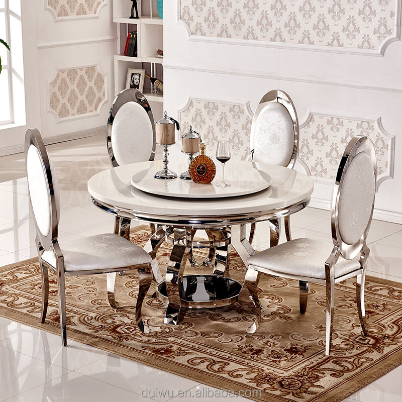 Foshan home luxury furniture 201 stainless steel dinning room set for sale