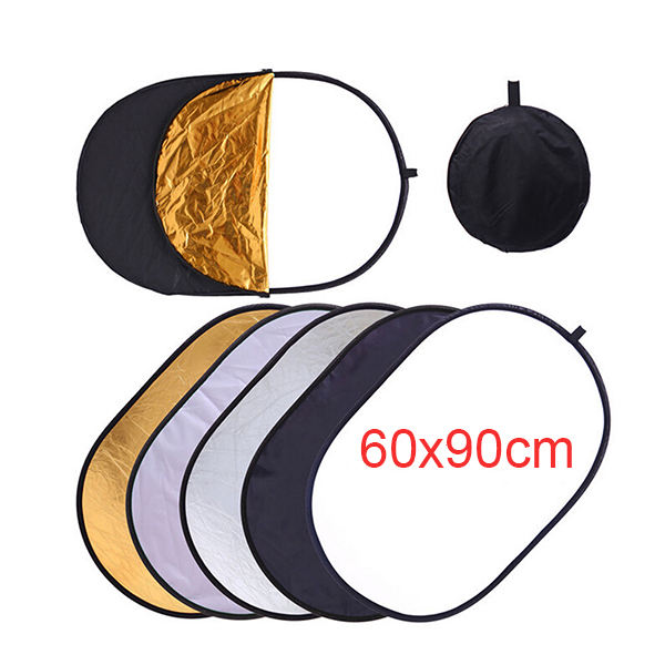 60*90CM 5 in 1 Multi Disc Photography Oval Collapsible Light Reflector handhold disc