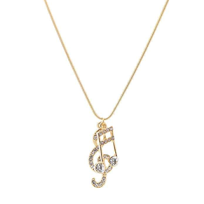 Sterling Silver Girls .8mm Box Chain Treble Clef Music Notes On Music Staff Stave Pendant Necklace
