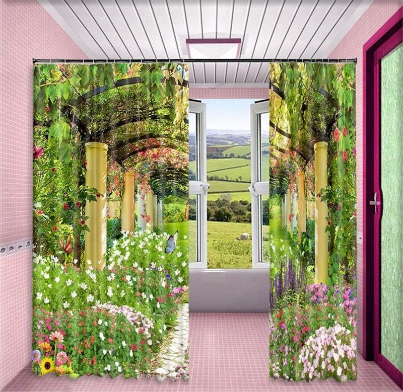 Most Popular 100% Polyester 3D Digital Photo Printed Window Curtain