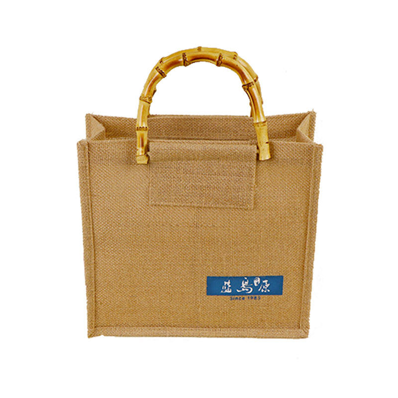 Customized 황 마 Shopping Bag 와 Bamboo Handles Good Quality