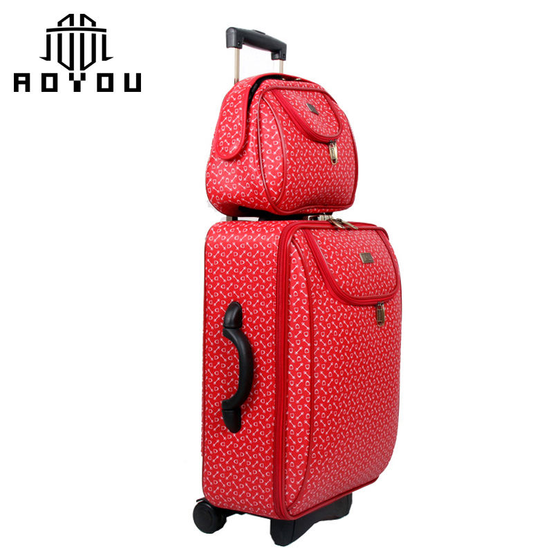 2019 New arrival Very nice design for women luggage sets red suitcase