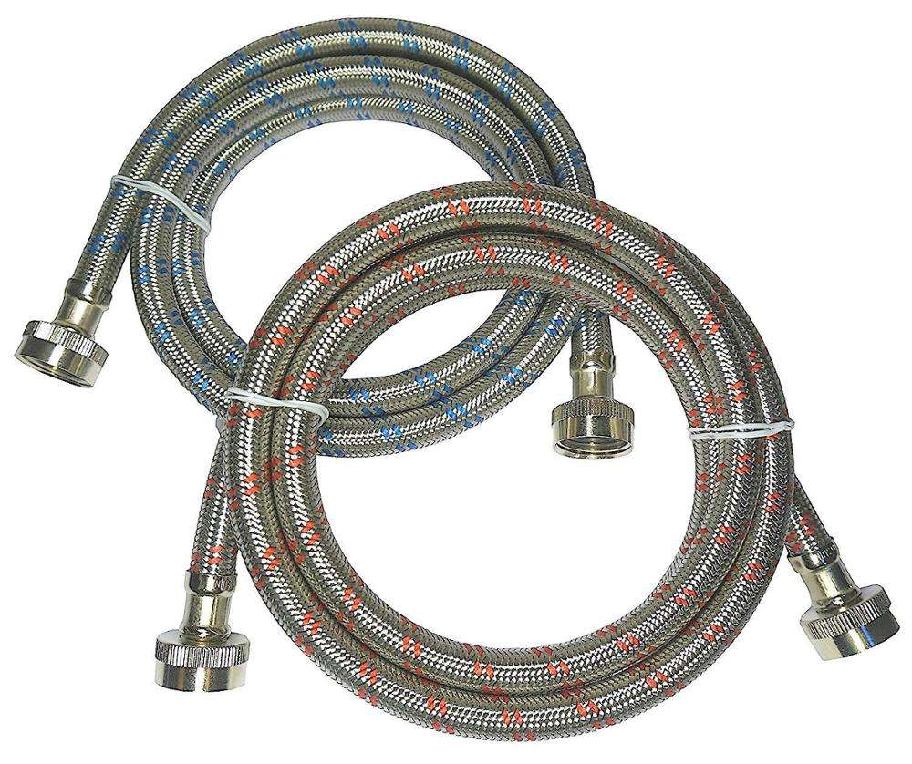 Premium Stainless Steel Washing Machine Hoses, 6 Ft Burst Proof (2 Pack) Red and Blue Striped Water Connection Inlet Supply Line