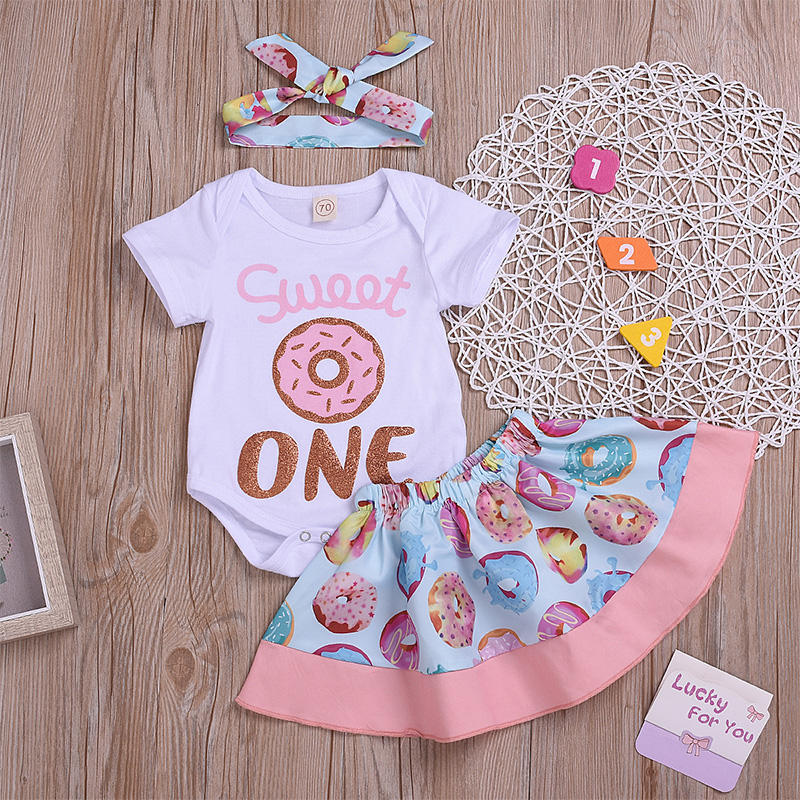 New Style Newborn Baby Girl Short Sleeve Donut Pattern Romper Sets with Skirt and Hair Band 3 Pieces for Summer