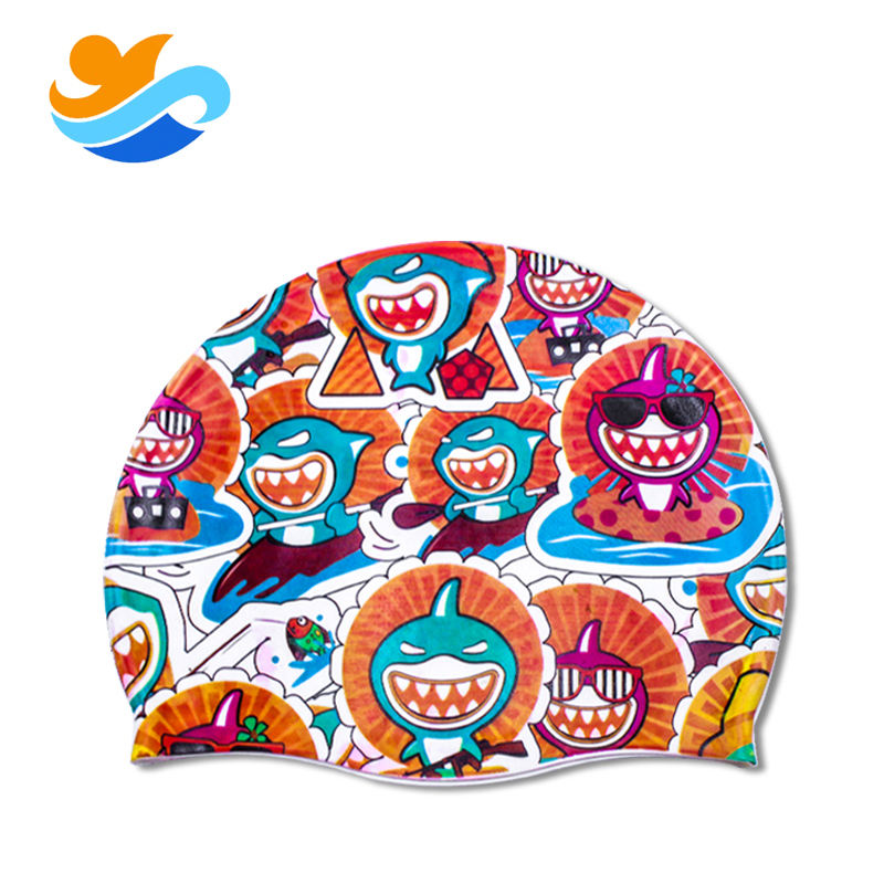 Custom logo thermal transfer personalized silicone swimming cap for children and adult