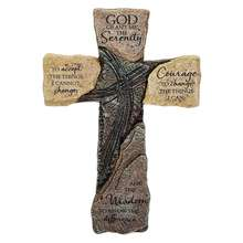 Dicksons God Grant Me The Serenity Prayer Slate 10 Inch Resin Hanging Wall Cross