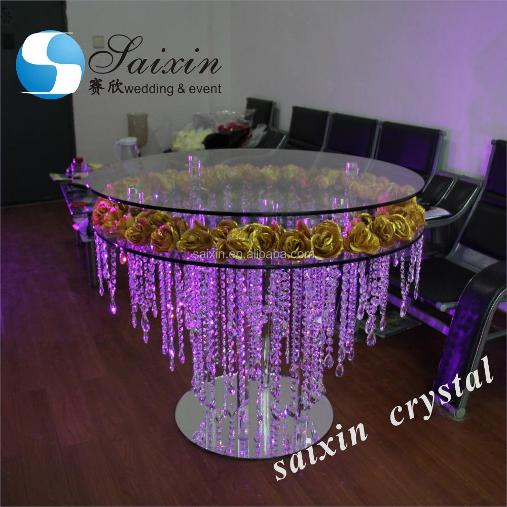 New double round cake table with hanging crystal 100cm ZT-321