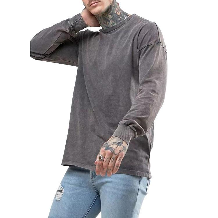 China factory wholesale custom oversized men long sleeve vintage acid washed t shirts