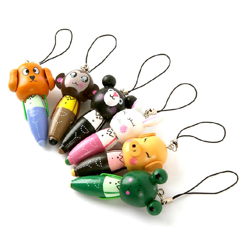 Wooden Material Mini Cute Ball Pen Cartoon Animal Ballpoint Pen