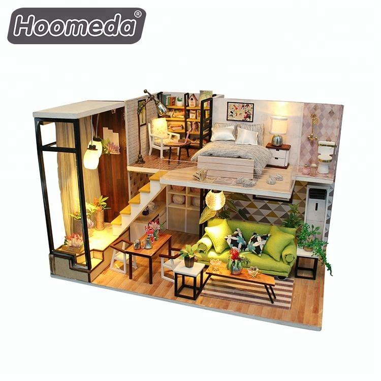 Wholesale toy 1:24 scale miniature wood crafts doll houses