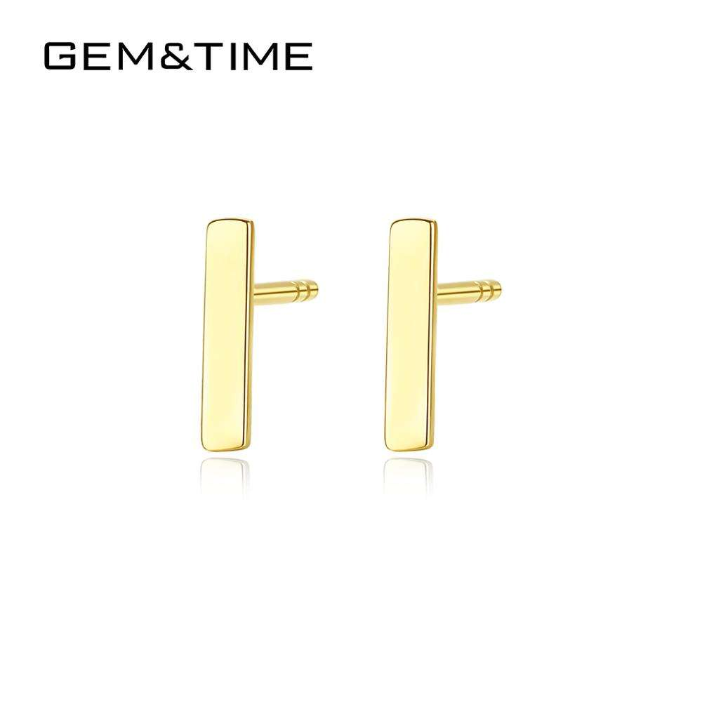 GEM&TIME 14K Gold Filled Bali Earrings Designs Minimalist Style Single Square Yellow Gold Stud Earring