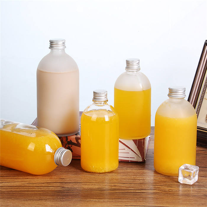 Stock 500ml Boston round bubble tea/milk tea/ kombucha beverage glass bottle with cap