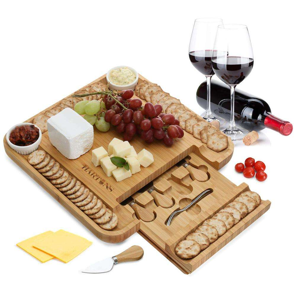 Bamboo Cheese Board Set With 2cup and 2 fork and 4 Stainless Steel Knife and Serving Utensils