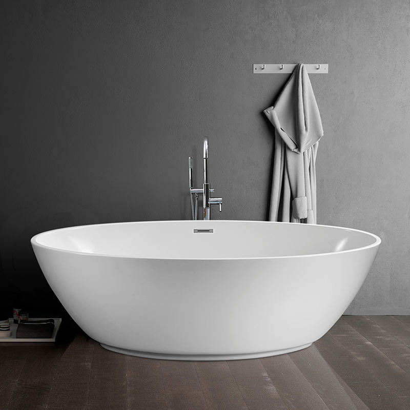 Aifol 63 inch Luxury Contemporary Oval Corner Soaking Standing Tub Bathroom Bathtub for Hotel