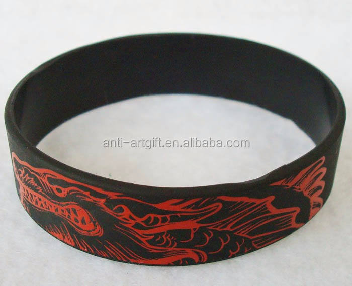 Custom design 실리콘 bracelet black color print red logo No MOQ 대 한 쿨 Man
