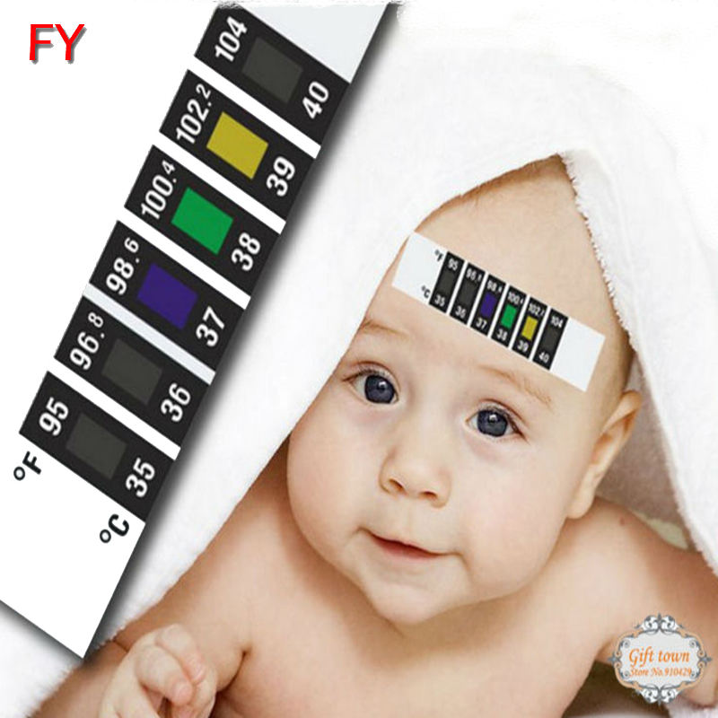 Vinyl temperature strip card for baby forehead sticker thermometer