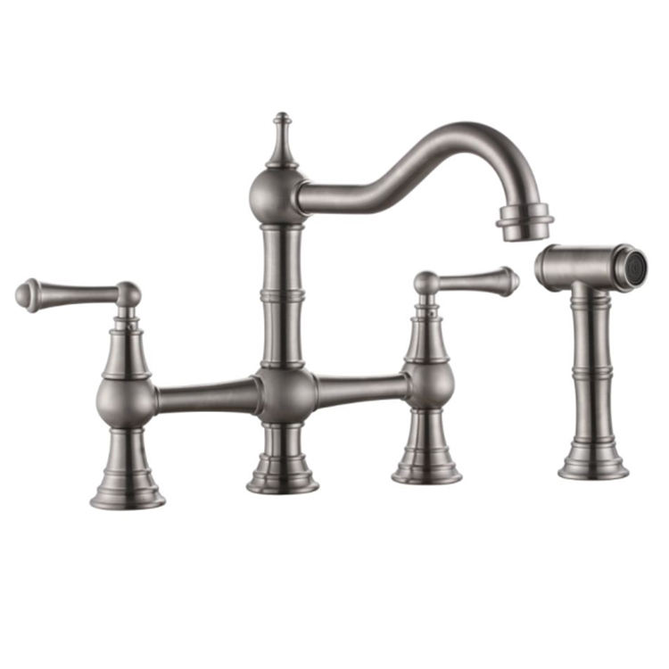 Lead-Free Two-Handle Bridge Kitchen Faucet with Matching Spray brushed nickel