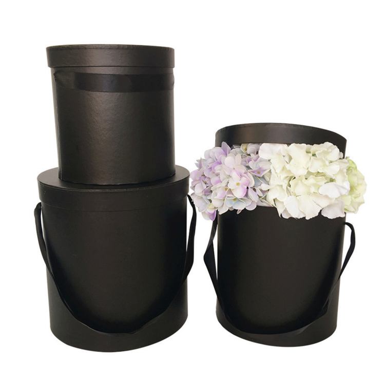 Wholesale Paper Florist Bouquets Packaging Plain Black Rose Round Cylinder Hat Box Cardboard Portable Flower Gift Set Boxes